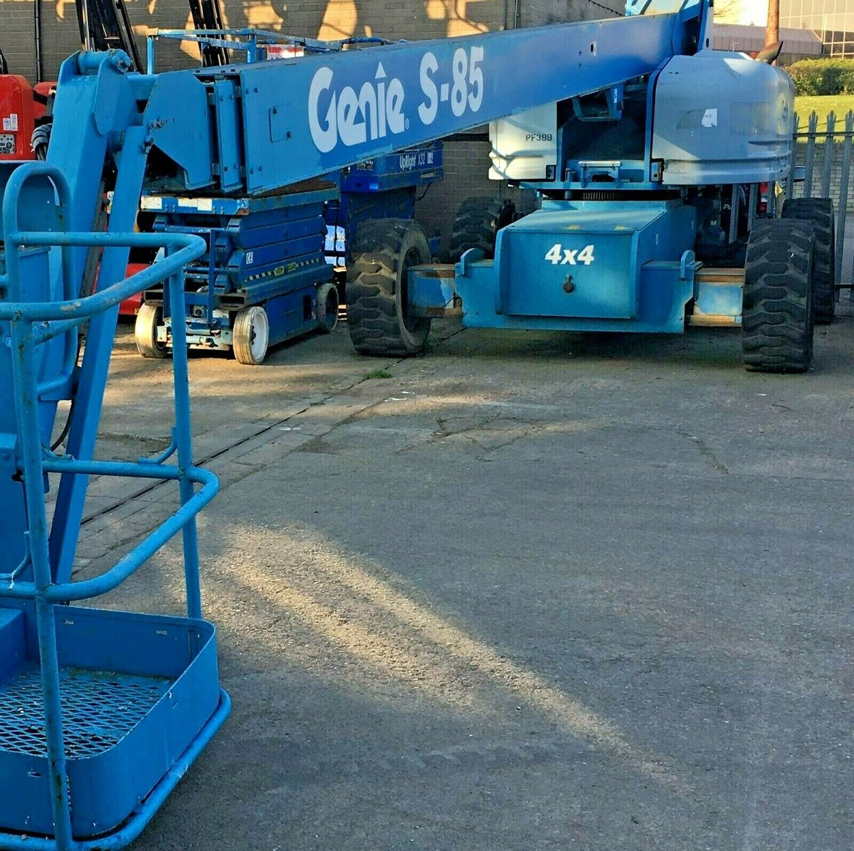 An image of Genie S85 straight diesel boom lift access platform cherry picker goes here.